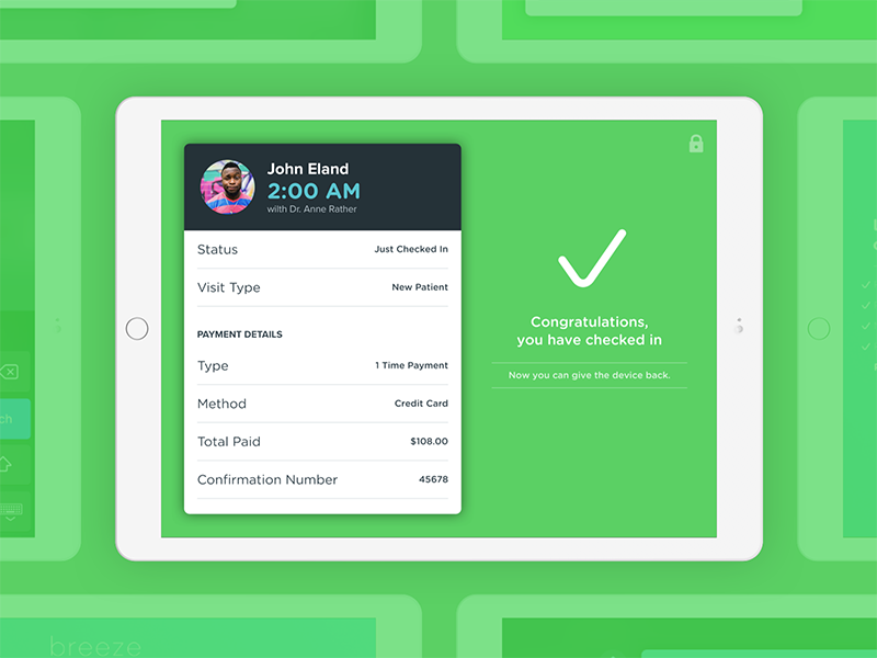 CareCloud's Breeze practice app: successful check in carecloud breeze ipad ios practice app patient doctor health check success ehr