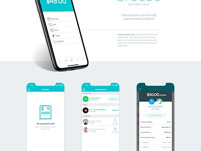 CareCloud's Breeze patient app: Payment flow mockup payment carecloud breeze android iphone ios practice app patient doctor health