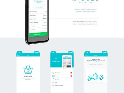 CareCloud's Breeze patient app: Payment plan receipt mockup payment carecloud breeze android iphone ios practice app patient doctor health