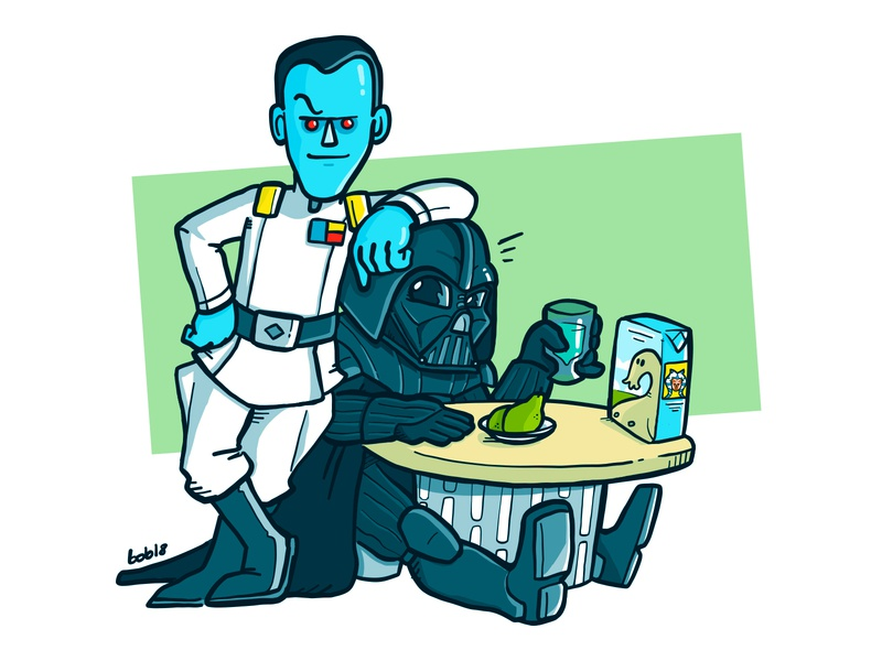 Admiral Thrawn + Darth Vader BFF friends bff admiral thrawn alliances alliances illustration fanart lunch milk sith vader thrawn star wars
