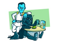 Admiral Thrawn + Darth Vader BFF friends bff admiral thrawn alliances alliances illustration fanart lunch milk sith vader thrawn star wars