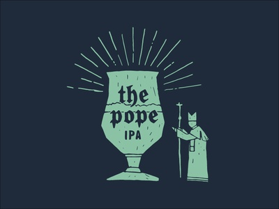 The Pope rays ipa hollister brewing california brewery religious glass illustration beer pope