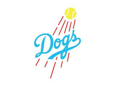 Dogs script tennis ball la dodgers baseball dogs