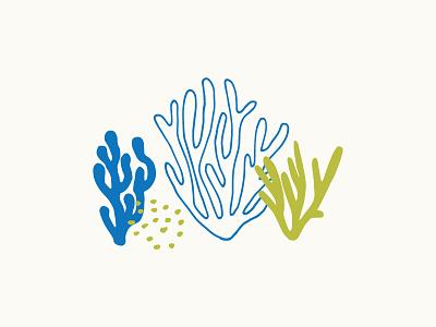 Seaweed ocean sea green blue hand drawn illustration seaweed