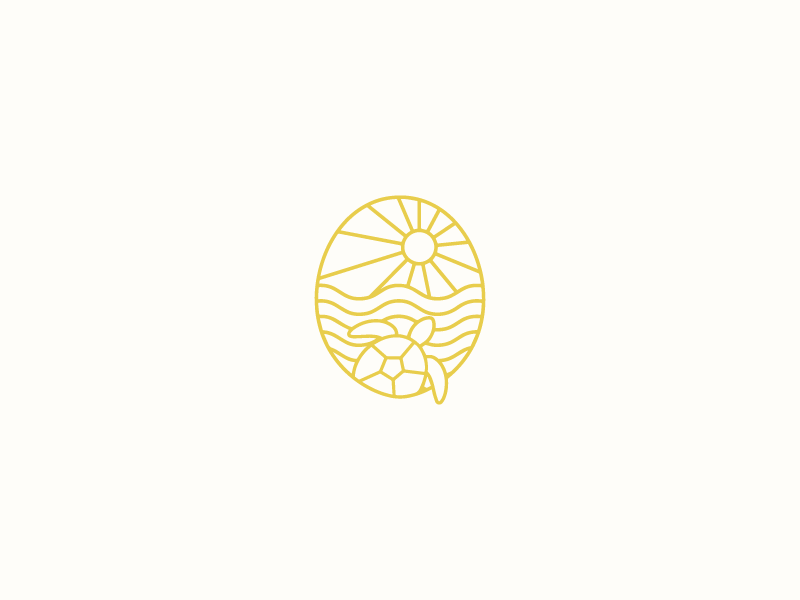 Turtle illustration oval brandmark water sea beach waves sun logo turtle