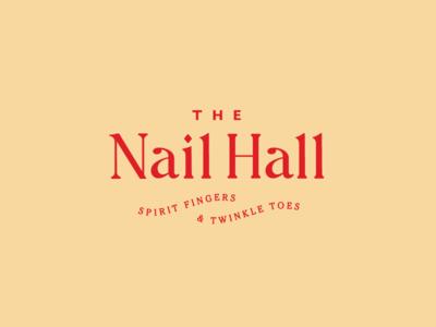 Nail Hall california san francisco nail salon red yellow typography logo nail hall
