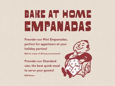Empanadas typography illustration man trees party food bake holiday christmas argentina el sur empanadas