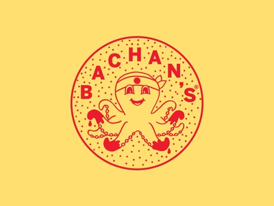 Bachan's circle brandmark logo octopus logo illustration octopus sauce barbecue japanese bachans