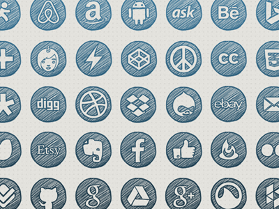 Handdrawn social icons dribbble