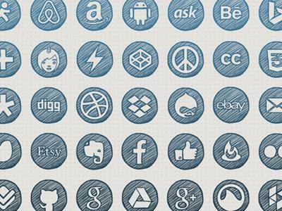 Hand-drawn Social Icons social icons hand-drawn freebie sketch