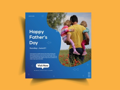 Father's Day Social Media Post Template multicolor marketing man love instagram illustration holiday happy gradient father fashion family discount design deal dad celebration blue banner 21st june