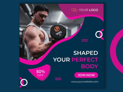 Gym Offer Post Social Media Banner collection clean campaign advertising ads offer banner fitness center web banner web banner design social media design illustration banner graphicdesign discount designs business branding design brand design branding design