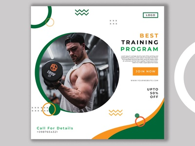 Gym Post Social Media Banner Design insta healthy life healthcare gymnasium gym instagram gym banner fitness training fitness instagram fit exercise couple fitness body workout banners banner set banner pack banner ad brand design branding design