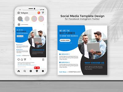 Business Plan Post Social Media Web Banner Template. instagram template illustration brand design advertising discount business banner branding design