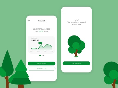 Save money and plant a tree flat illustration vector illustrations illustration digital illustration design illustration icons ui ux designer ui ux interface saving money finance app usability uiux forests tree plants forest neuland ui uidesign