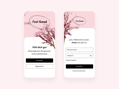 Onboarding screen for the Feel Good App home screen sign in onboarding health care app meditation app stress app application ux uiux interfacedesign illustration design ui  ux interface uidesign ui design