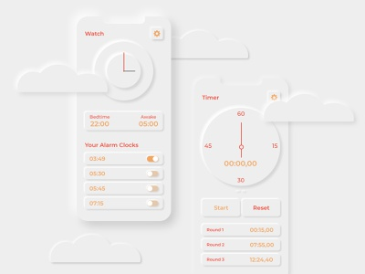 Time with some clouds neuland application ui application app timer timer app watch app watch screendesign uidesign ui  ux ui interfacedesign interface skeumorphism skeuomorph neumorphic neumorphism