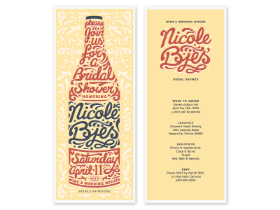 Another color option festive wine winery invitation bridal shower scripted hand jessica tenuta