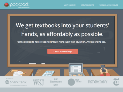 Packback for Professors Landing Page