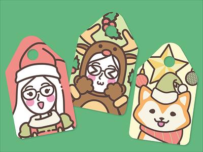 a.bite Christmas mascot illustrations tags christmas mascot branding flat design pack bakery cute kawaii illustrator vector art illustraion cards tags