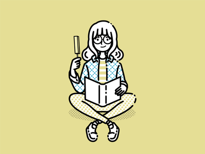 Girl reading a book in summer