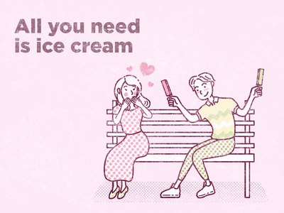 All you need is ice cream grunge font illustration art design lovers vintage grunge vector vector art illustration adobe illustrator ice cream couple in love love