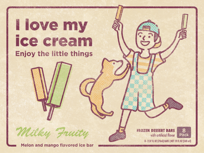 Happy boy with his ice cream vintage style packaging