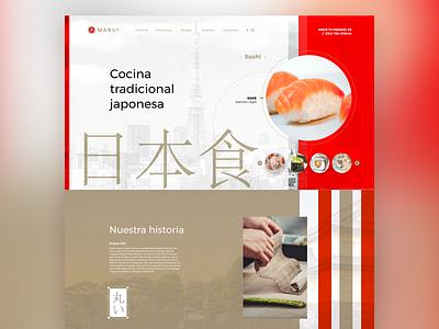 Marui Web website japanese brand branding marui sushi roll traditional adobe xd ux ui design web web design japanese food japan sushi