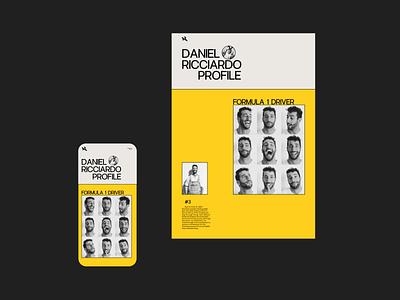 Daniel Ricciardo (website 2020) formula 1 ux ui redesign daniel ricciardo website design web design ux  ui ux design ui design typogaphy racing