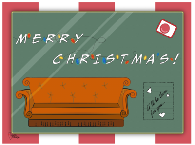 Christmas postcard | F.R.I.E.N.D.S weeklywarmup tv show fiction friends christmas cards postcard christmas illustration illustration christmas card christmas dribbble dribbbleweeklywarmup