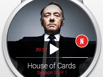Android Wear - Netflix Remote smartwatch android ui concept notification minimalistic netflix android wear house of cards