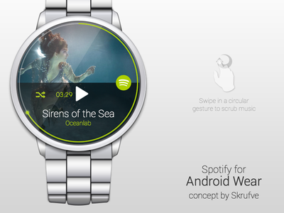 Android Wear - Spotify Remote smartwatch android ui concept notification minimalistic spotify remote android wear