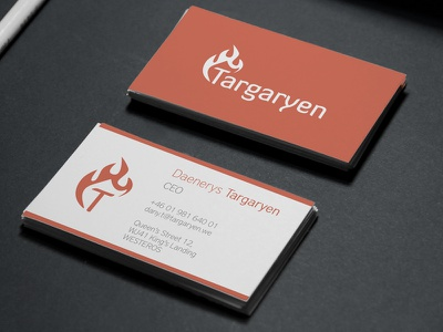 Daenerys Targaryen - Business card (rebranded house) business card game of thrones rebranding targaryen logotype concept mockup