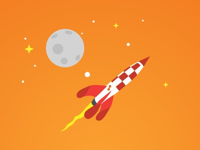 Rocket to the moon - Make it real! moon orange core values poster inspirational poster rocket space
