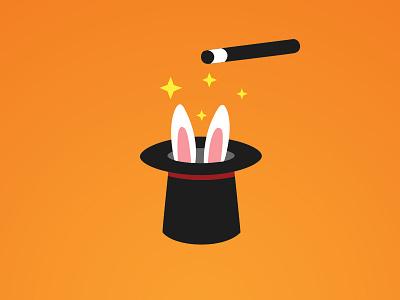 Rabbit in the hat - amaze our customers core values poster wand orange amaze magic magicians hat rabbit