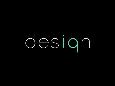 Desiqn - Black sans serif minimalistic logo on black background iq logo design agency
