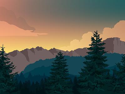 Serene forest valley sunset wallpaper illustration valley forest