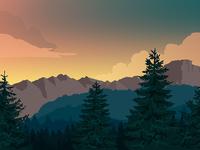 Serene forest valley
