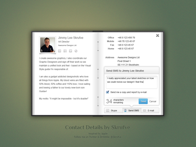 Contact Details View contact address book leather book binding apple psd ui skeuomorphic concept send textmessage layered
