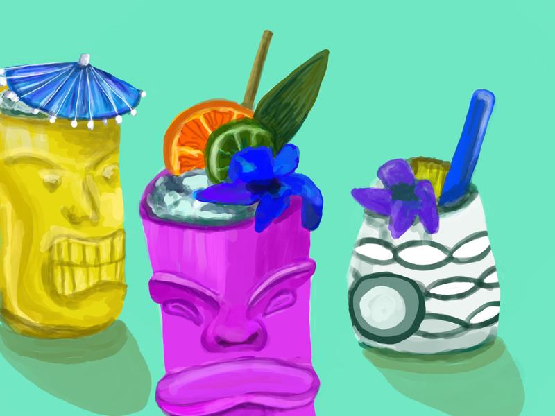 Tiki digital design illustration