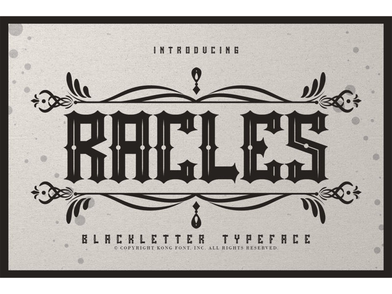Rackles Font landmark logotype branding italic decorative fonts bllackletter display rackles