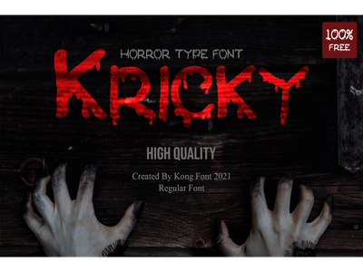 Kricky Free 100% freebies typeface logotype branding scary horror display font free kricky