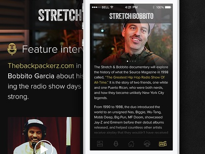 Stretch & Bobbito app ui design flat hiphop neonroots