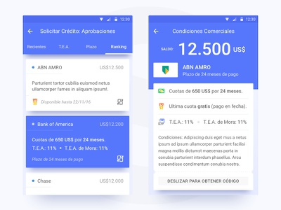 Loans applications shadows loans bank android ux ui design material