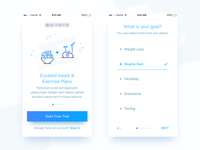 Fitness Proposal goals blue iphone interface fitness android ios flat app ux ui white