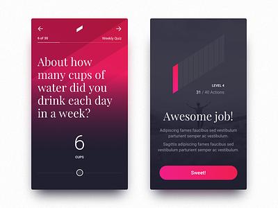 Quiz UI Exploration black blue iphone interface health android ios flat app ux ui dark