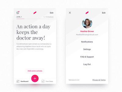 Dashboard & Profile UI Exploration ux ui iphone android ios interface dashboard profile design light white app