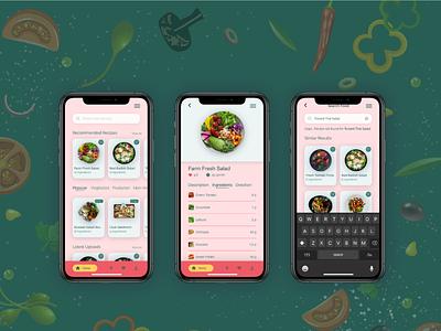Food Recipe App - Concept UI Design freelancer ux designer lockdown concept app ui work food app ui design
