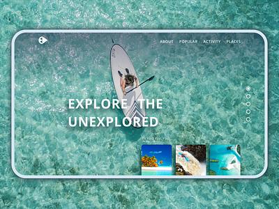 Explore The Unexplored Screen 1 - UI Design Challenge image typography travel full page flat explorer sketchapp affinity designer challenge website design ux app