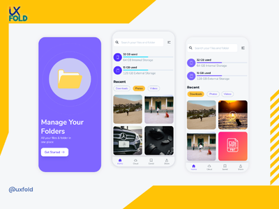 Mobile Folder App micro-interaction uxuidesign